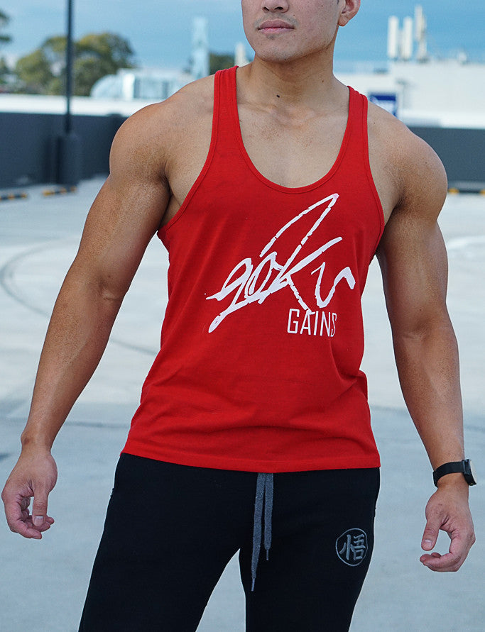 'Goku Gains' Mens Lifestyle Gym Singlet - Crimson Red - Saiyan Evolution Online Shop Worldwide Shipping - 1
