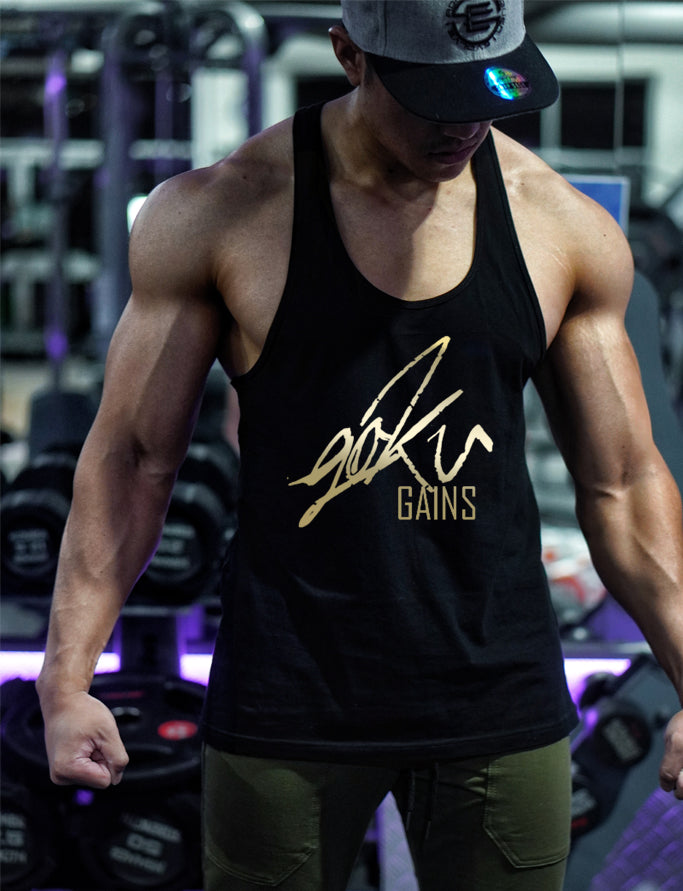 'Goku Gains' Mens Y Back Gym Singlet - Black/Gold