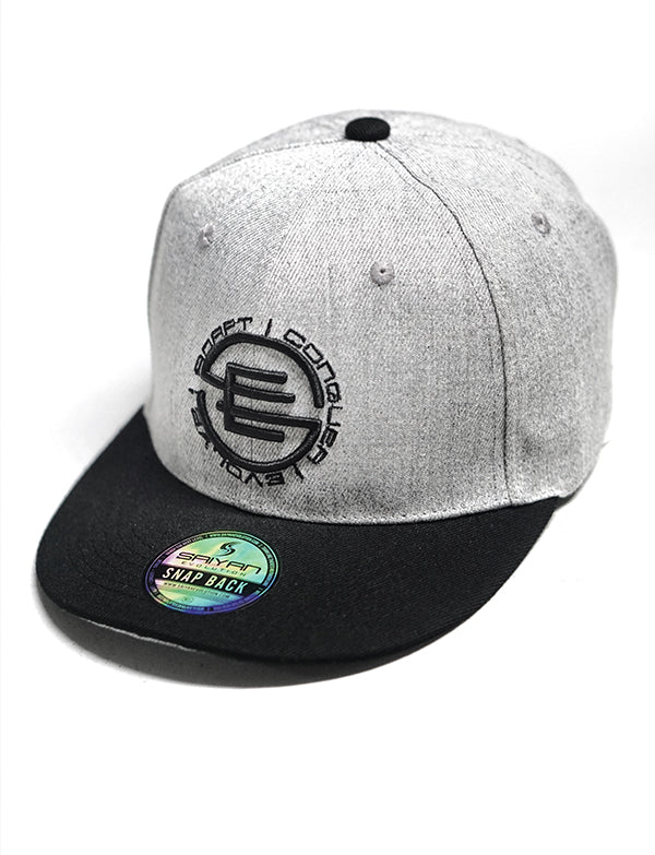 [NEW ARRIVAL] 'Adapt Conquer Evolve' Two Tone Snap back Hat - Grey/Black