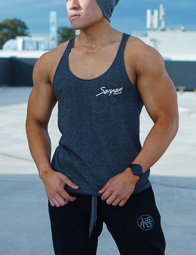 'Saiyan Evolution' Signature Series Mens Lifestyle Singlet - Dark Heather - Saiyan Evolution Online Shop Worldwide Shipping - 1