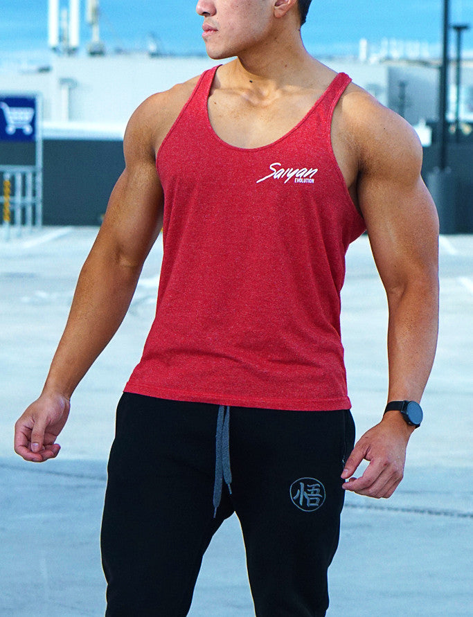 'Saiyan Evolution' Signature Series Mens Lifestyle Singlet - Red Heather - Saiyan Evolution Online Shop Worldwide Shipping - 1
