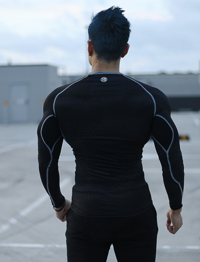 'Saiyan Evolution' Long Sleeve Super Slim Fitted Compression Shirt - Chameleon Black/Silver