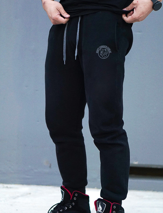 A.C.E Premium Embroidered Fitted Sweat Pants - Elite Black - Saiyan Evolution Online Shop Worldwide Shipping