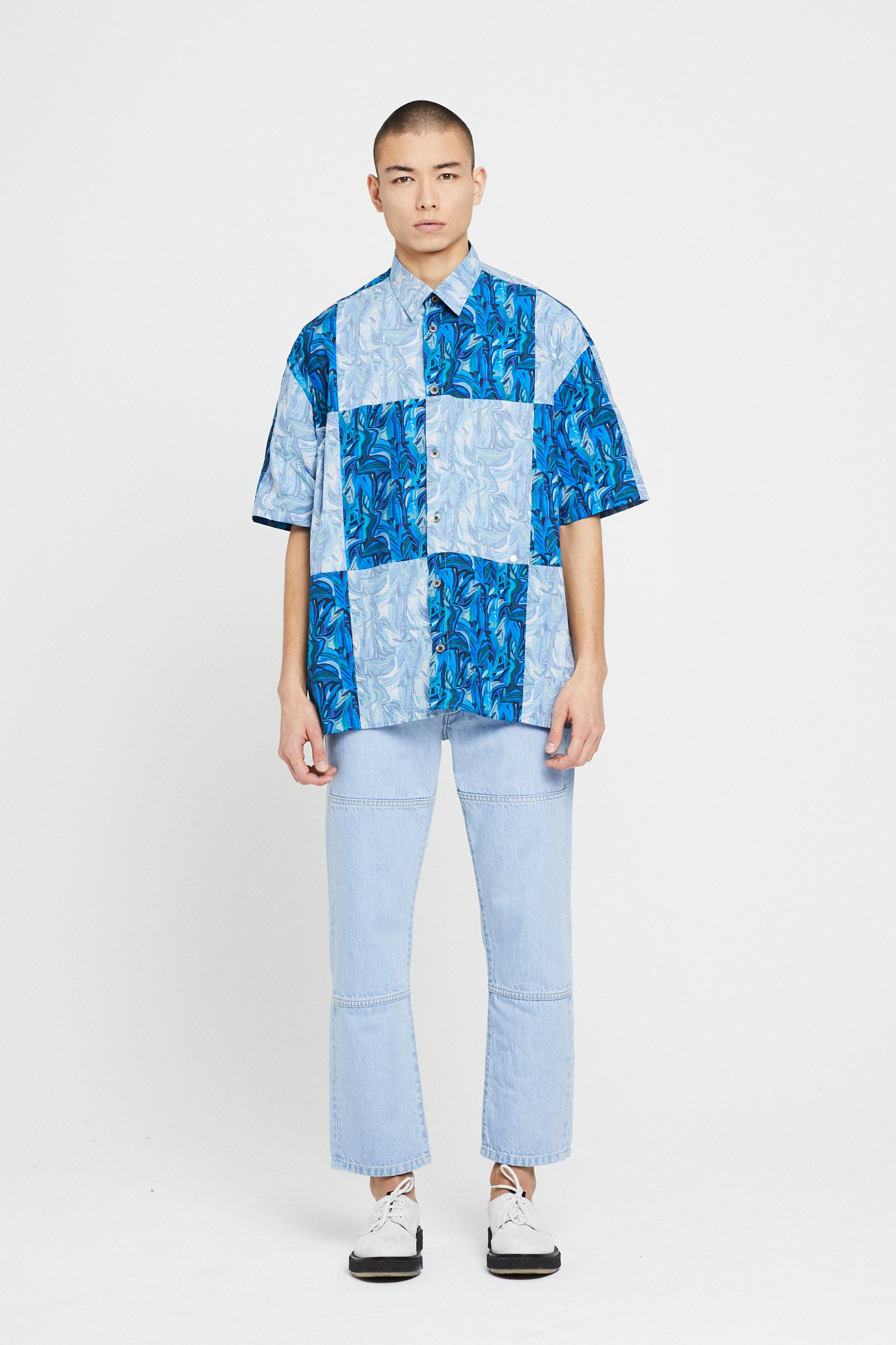 Études Illusion SS Cut Up Liberty Blue Shirt 1