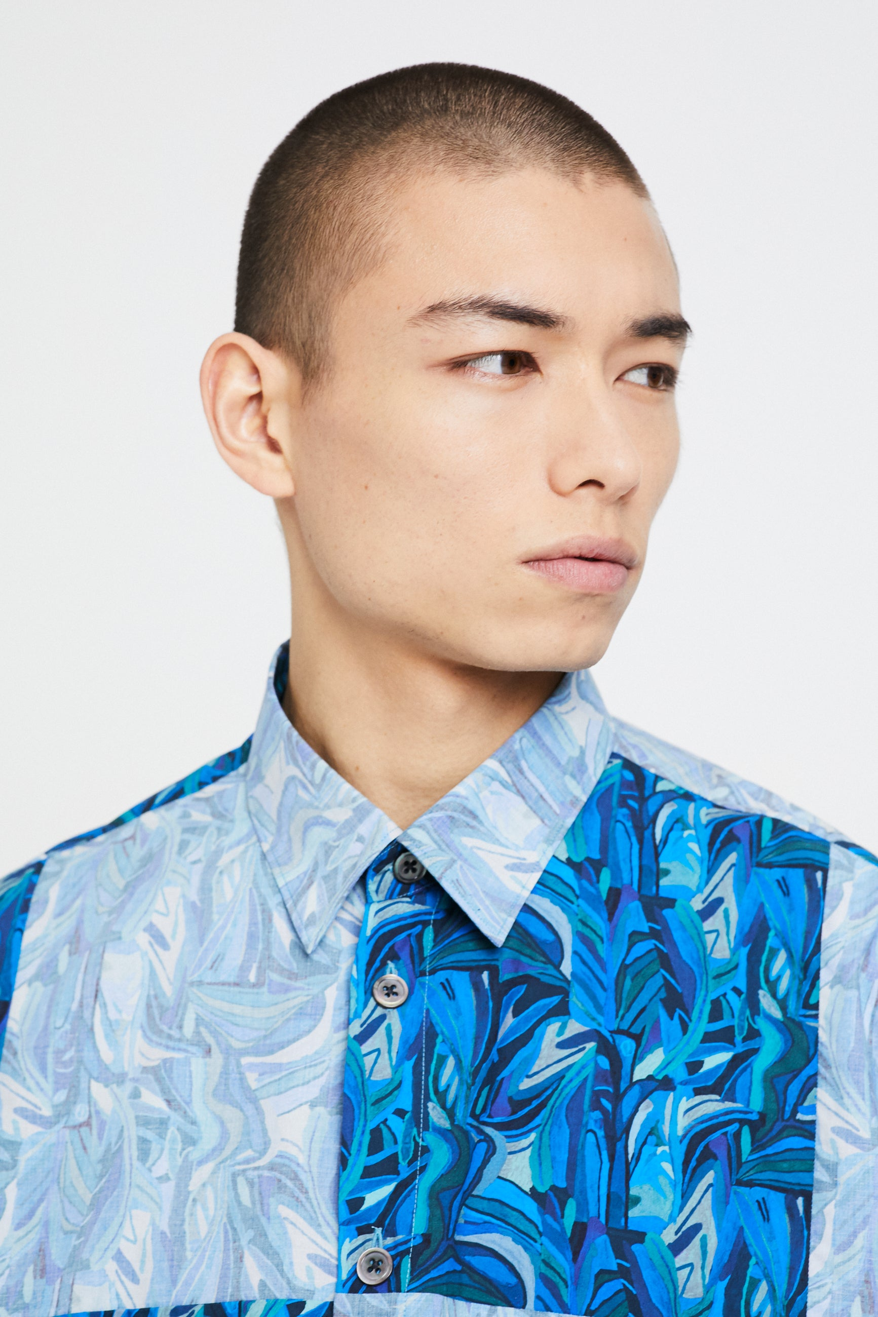 Études Illusion SS Cut Up Liberty Blue Shirt 2