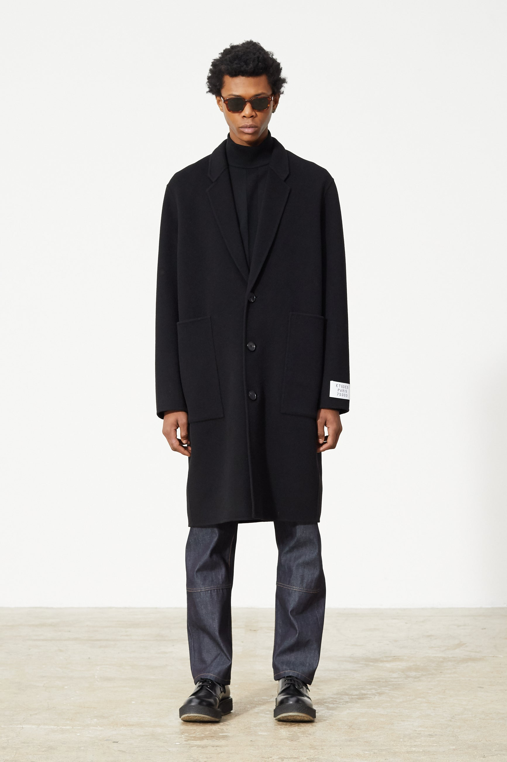 Études Archeology Wool Black Coat 1