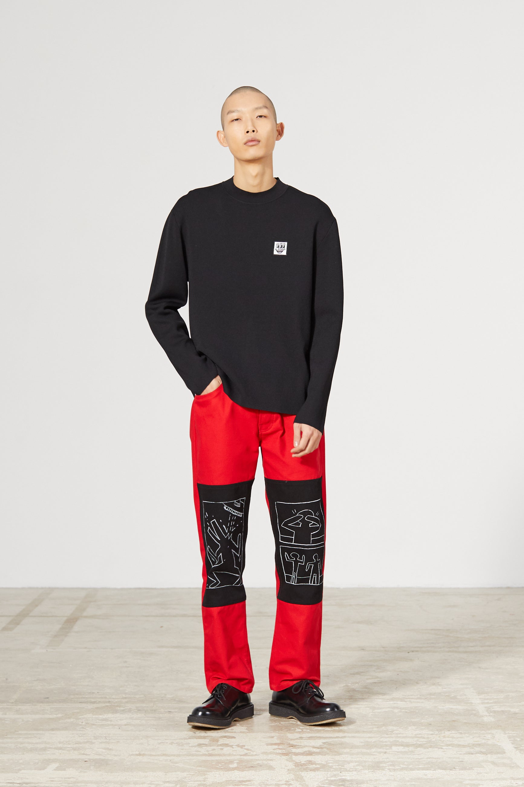 NEIL PATCH KEITH HARING BLACK SWEATER