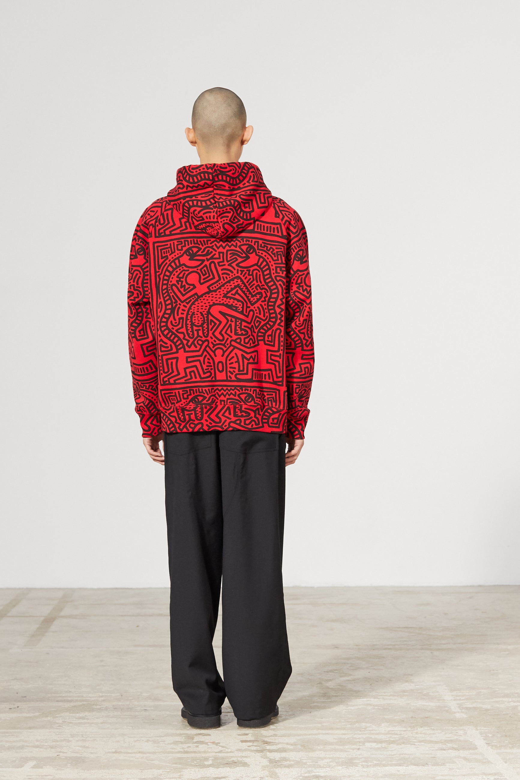 ODYSSEUS KEITH HARING RED HOODIE