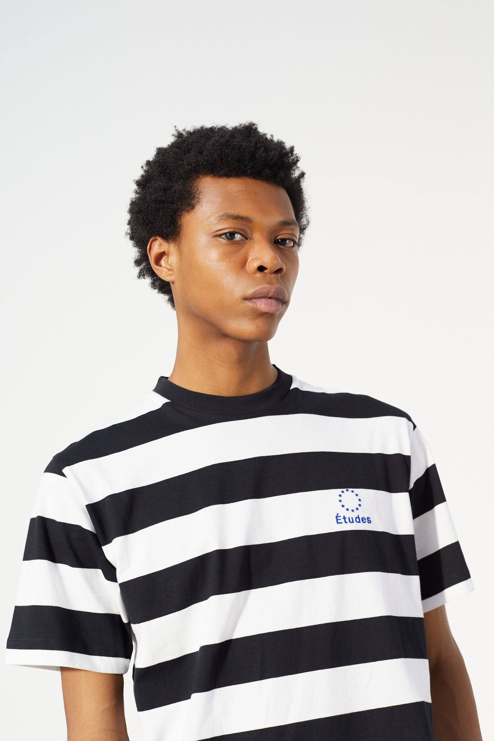 Études Wonder Logo Striped B&W T-shirt 3