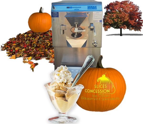 2010 CARPIGIANI LB502  Batch Freezer infront of fall tree and pile of leaves with pumpkins and pumpkin spice ice cream with slices concession logo