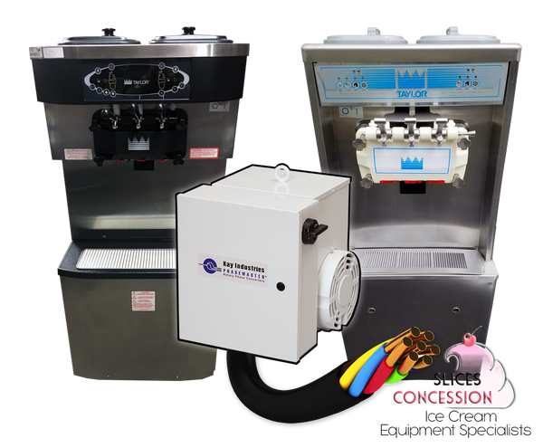 Phasemaster Type MA-A with electrical wire, taylor c713 and taylor 794 frozen yogurt soft serve machines and slices concession logo