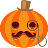 posh and fancy pumpkin with mustache eye glass and top hat looking like the monopoly man