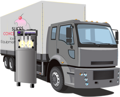 Stoelting_F231_soft_serve_ice_cream_machine_with_truck_that_has_slices_concession_logo