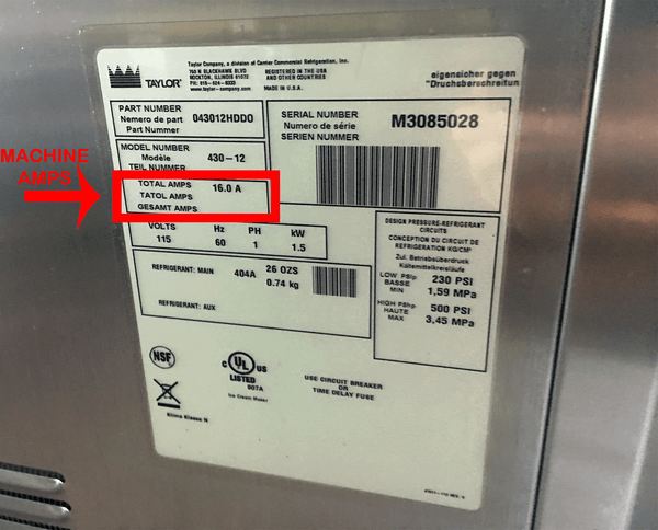 Taylor Ice Cream Machine data tag showing the serial number, model number, amperage (amps), and voltage (volts).