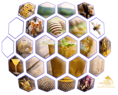 bees freeze drink with bees people drinking partying and a bartender serving drinks images inside a giant 3D honey comb shape and slices concession logo