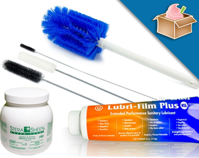 cleaning supplies like brushes stera sheen and lubri-film plus