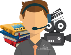 customer support man with headset and a stack of books with taylor logo and video camera behind him