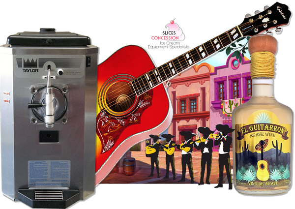 el guitarron premium blend wine based liquor with mariachi band playing music and taylor 430 frozen beverage machine and scene of mexican city