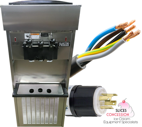 electro freeze sl500 forzen yogurt soft serve machine with hard wires and three phase outlet slices concession logo