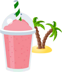 frozen drink slushie pink lemonade with palm trees and island in the background