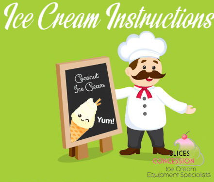 ice cream instructions with french chef next to black board with smiling vegan coconut ice cream and slices concession logo