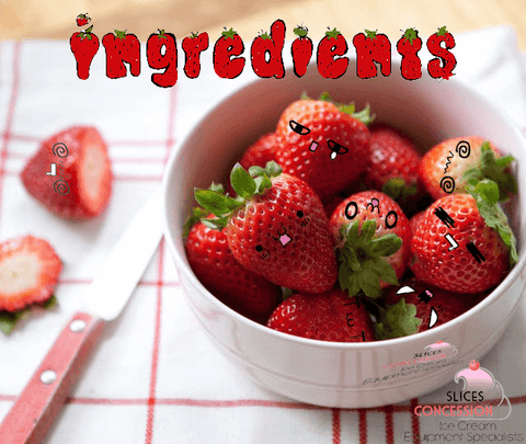 ingredients happy anime emoji strawberries in bowl on cloth tabel with knife and cut strawberry slices concession logo