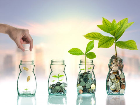 a human hand is putting coins into 4 money jars to make the plants inside the jars grow