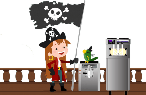 pirate girl with pirate flag and parrot on pirate ship with a taylor 430 frozen beverage margarita machine and stoelting f231 soft serve frozen yogurt ice cream machine
