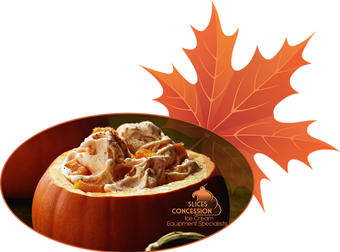 pumpkin spice ice cream with slices of pumpkin inside a pumpkin with slices concession logo and autumn leaf