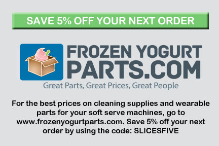 slices concession coupon card for frozenyogurtparts.com for customers to save 5 percent on their next purchase