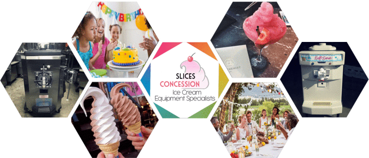 slices concession logo with taylor 142 soft serve ice cream machine taylor 430 frozen beverage and drink machine with people at a wedding and kids at a birthday party in honey comb shaped pictures