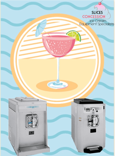 summer pink frosé drink in a wine glass with a mini umbrella and sliced lime with two frozen beverage/margarita machines, the taylor 340 on left and taylor 340 on right, slices concession logo on top right corner