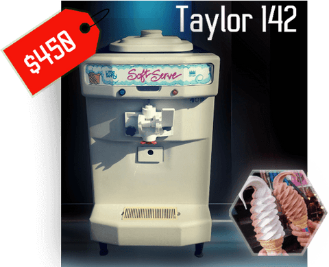 taylor 142 lil' softy soft serve frozen yogurt ice cream machine with 2 flavored soft serve ice cream cones and red price tag