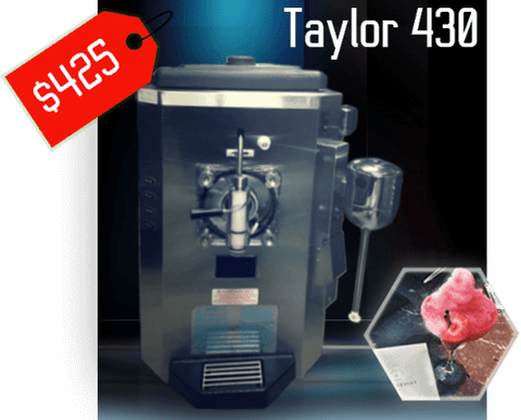 taylor 430 Margarita Frozen Beverage frozen Drink Machine with price tag for rental and strawberry daiquiri