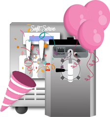 taylor 430 and  frozen beverage machine with party favors and balloons