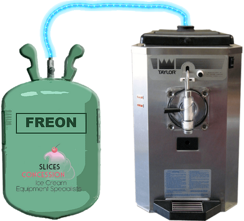 taylor 430 frozen beverage margarita machine with glowing tube connecting to freon gasket