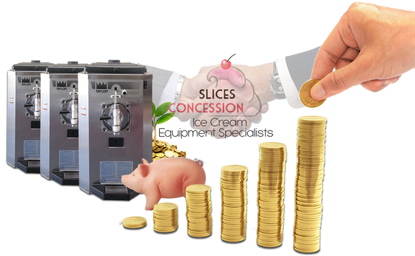 taylor 430 frozen drink frozen beverage machines with piggy bank and golden coins stacked up with slices concession logo & businessmen hands shaking in agreement in background