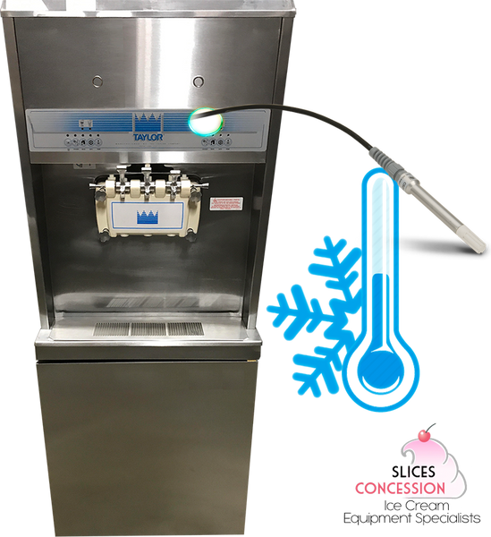 taylor 8756 soft serve frozen yogurt machine with temperature probe thermometer and snowflake cold symbol with slices concession logo