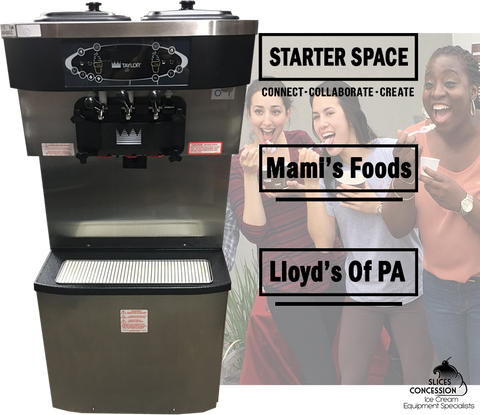 taylor c713 frozen yogurt machine with starter space lloyd's of PA & slices concession logos infront of 3 happy smiling women eating soft serve ice cream