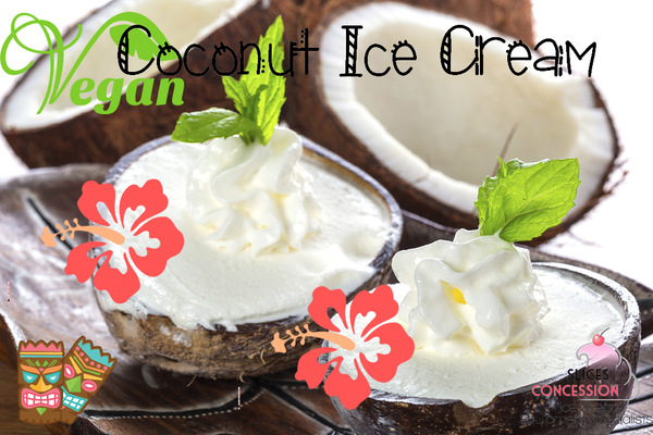 vegan coconut ice cream with basil leaf served in coconuts with vegan symbol and two tiki hawaiian masks and slices concession logo