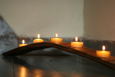 winebarrel stave candle holder with tea-lights