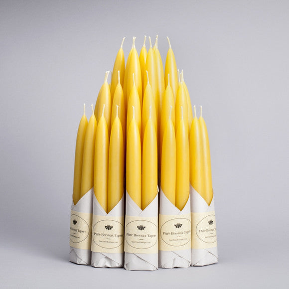 Beeswax Taper Candles - Natural Yellow