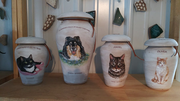 Dog urns and cat urns Malloryville Pottery
