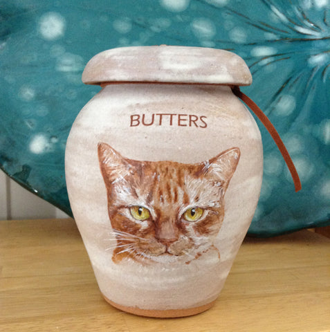 Malloryville Pottery custom pet urn with image