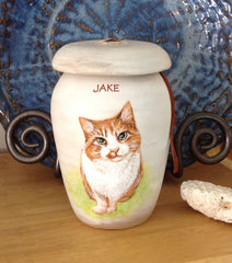 Handpainted ceramic urn from your pet's photo