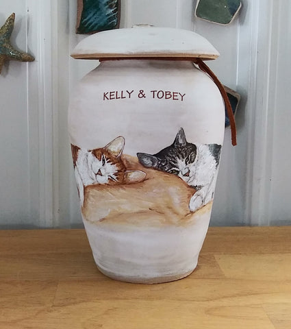 Cat cremation urn Malloryville Pottery Studio on Etsy
