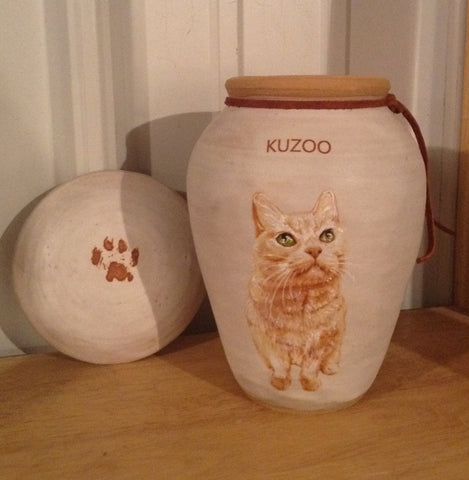 Custom Painted Cat Urn