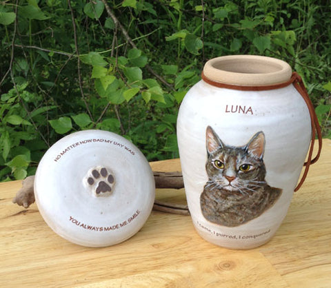 Hand painted custom cat urn for ashes