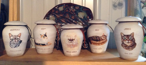 Artisan urns hand painted with your pets likeness