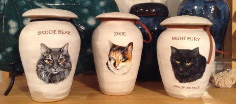 Ceramic cremation urns for cats, custom image urn
